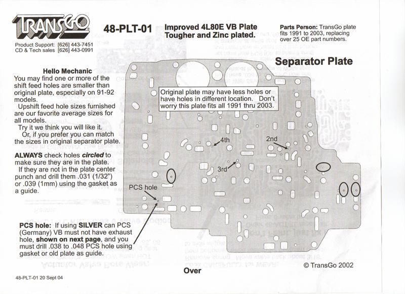 4L80E Valve Body Separator Plate Heavy Duty Transgo USA